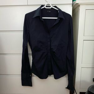 Ruched Navy Blue Button Down